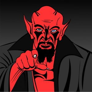 Muscular red cartoon demon pointing at you