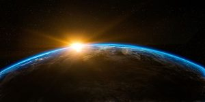 Dawn rising over the earth as viewed from space