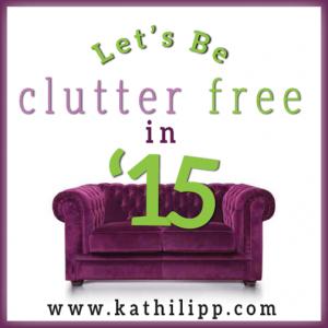 "Purple velvet coach with ""clutter free in '15"" written above it."